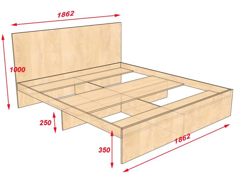 Схема кровати с ящиками своими руками из дерева